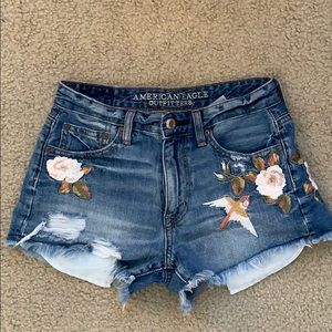 Embroidered American Eagle Denim Shorts